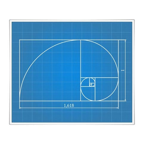 Blue depiction of the properties of the golden ratio.