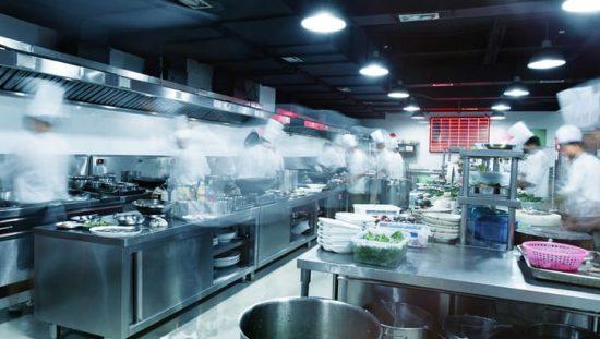 Restaurant kitchen with gas equipment that follows ANSI Z83-2016/CSA 1.8-2016