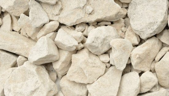 Broken up limestone that has been tested by ASTM C110-20.