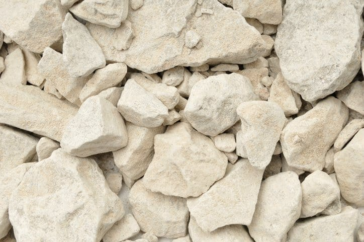 Broken up limestone that has been tested by ASTM C110-16e1