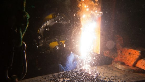 Underwater welding that follows the requirements set in AWS D3.6M:2017