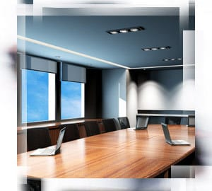 A conference room with lighting that follows workplace lighting standards