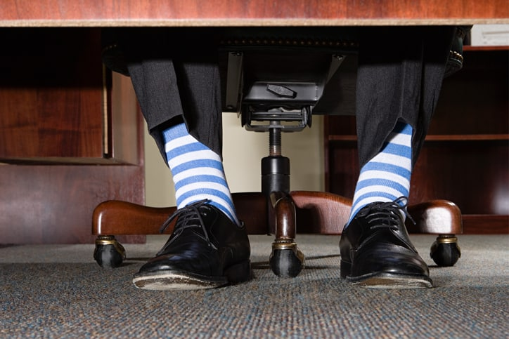 Striped Socks Ergonomic Feet on Floor