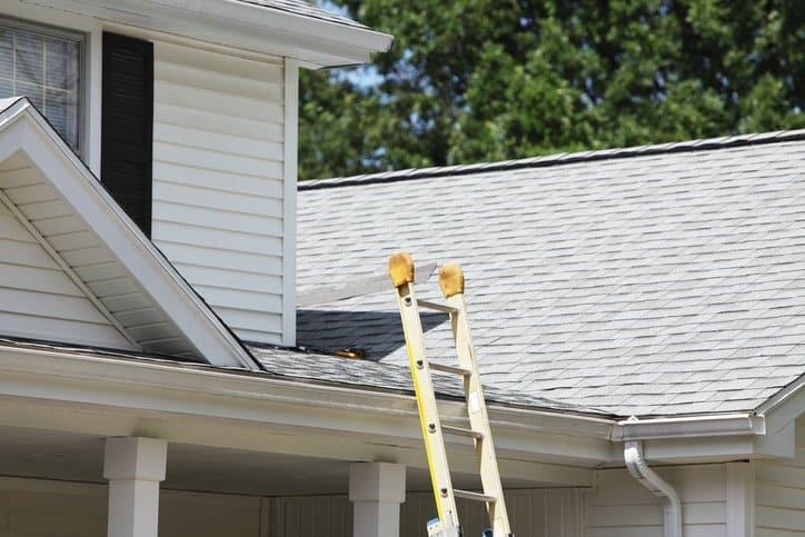 A plastic ladder that follows ANSI ASC A14.5-2017 leans against a white suburban home