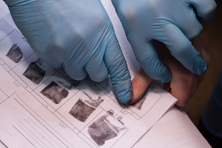 Taking Fingerprints Forensics Crime