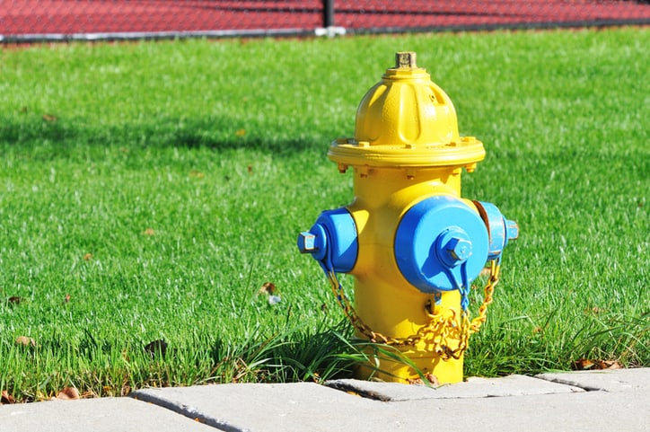 Yellow fire hydrant classified as NFPA class