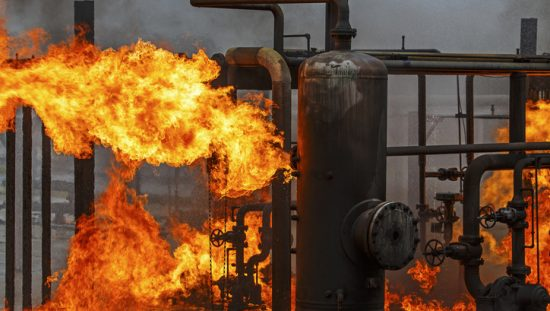 A petroleum plant on fire that did not follow NFPA 69-2019 explosion prevention systems