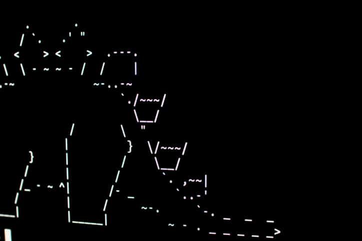A white stegosaurus designed in ASCII art or ANSI art