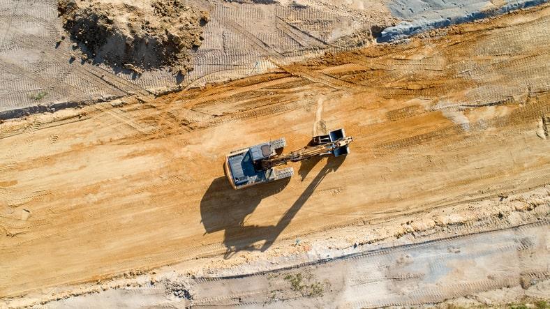 Overhead view of a bulldozer