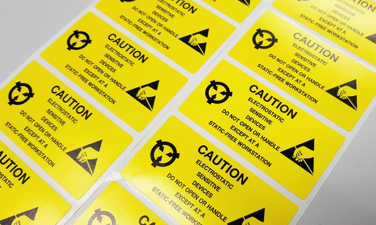 Yellow ANSI/ESD S541-2018 packaging labels