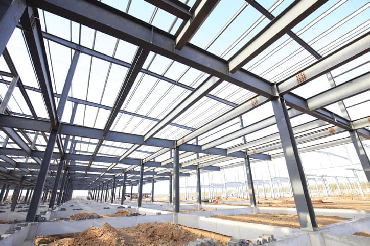Steel structure of building in construction site will be applied with ISO 12944 paint to protect from corrosion.