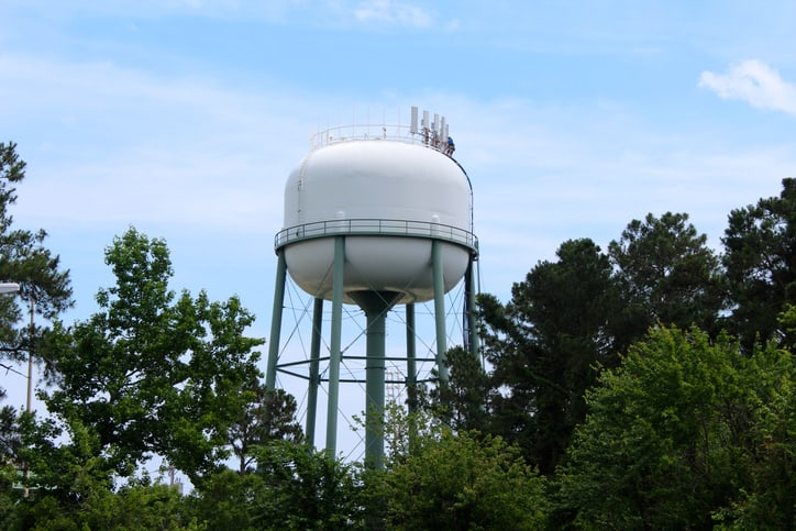 Water tower that was disinfected with AWWA C652-2019