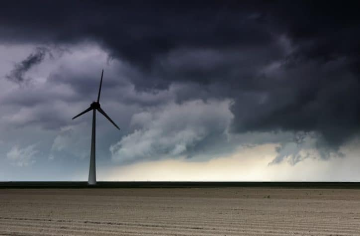 Storm over Wind Turbine ISO 12494 atmospheric icing and lightning protection