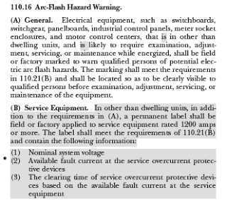 Section on Arc-Flash Hazard Warning in NFPA 70-2017