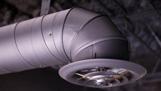An ANSI/ASHRAE 120-2017 HVAC duct near ceiling.