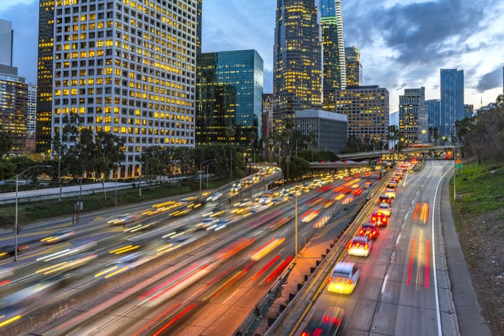 Bright Los Angeles traffic lighting up street with consistent sound emitted from SAE J 2805-2020 testing
