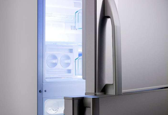On open AHAM HRF-1-2016 refrigerator with plenty of volume.