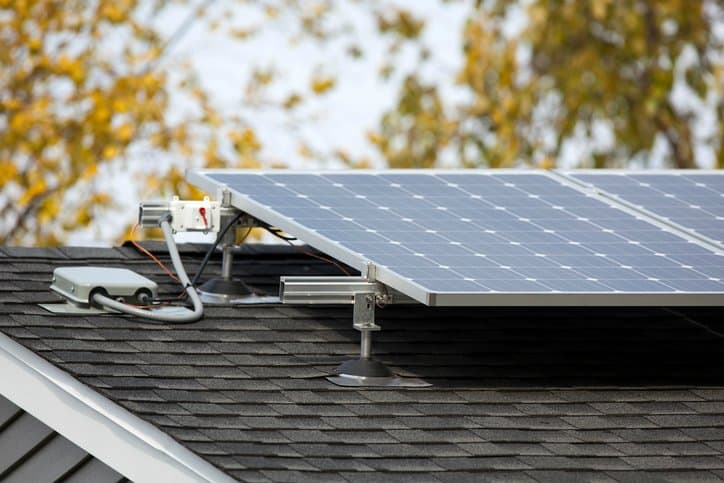 Solar wiring on rooftop connecting to photovoltaic (PV) panel and installed to the National Electrical Code (NFPA 70).