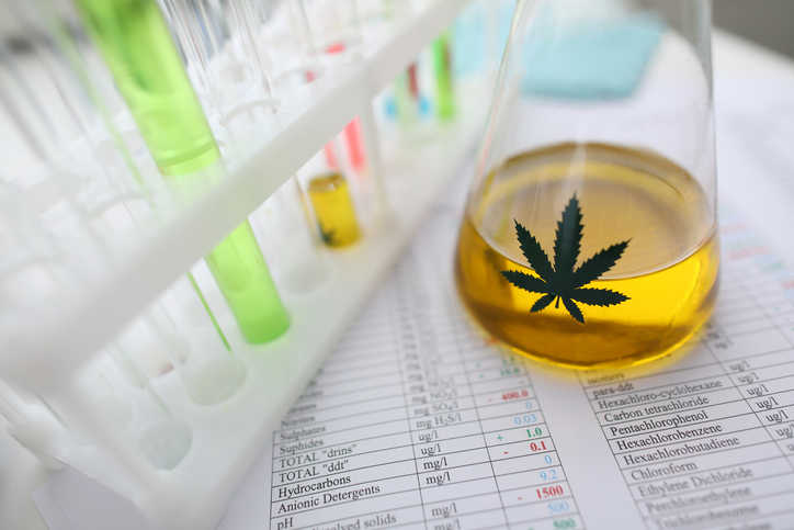 Liquid amber THC representing the many challenges for cannabis testing laboratories, and the need for ANAB accreditation.