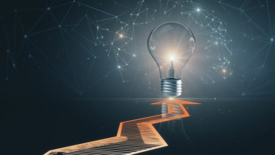 Using AI to drive the idea innovation management standard, ISO 56007, toward progress, via a lightbulb.