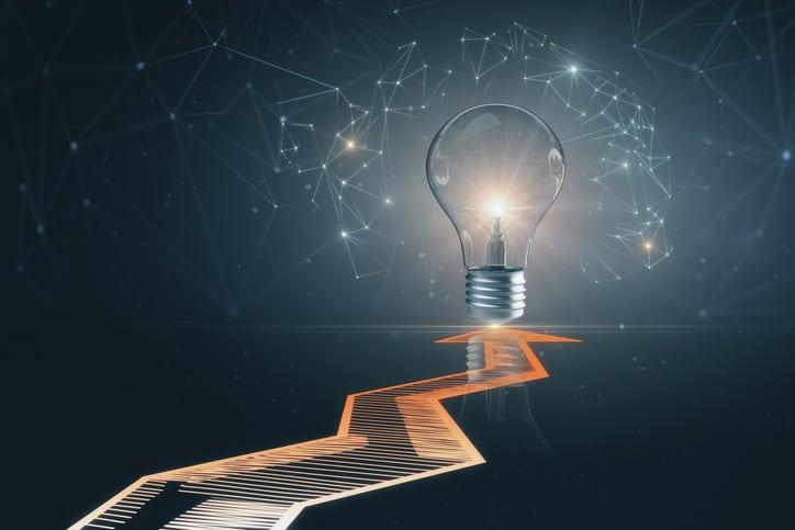 Using AI to drive the idea innovation management standard, ISO 56007, toward progress, via a lightbulb.
