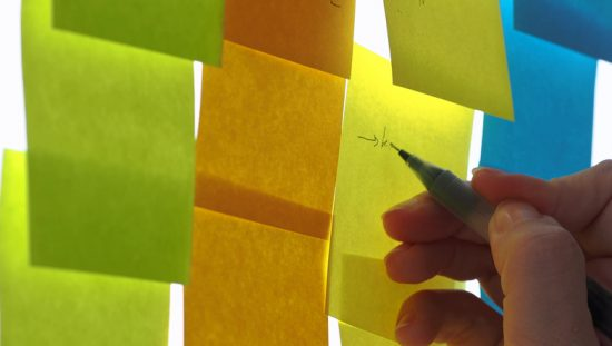 Writing goal on post-it with ISO 21500:2021 project management, program management, and portfolio management concepts.