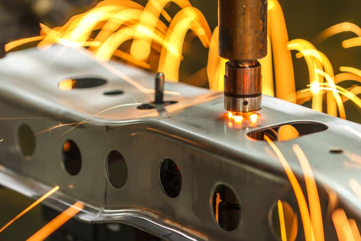 Steel that has an addition of alloying element that is specified in ASTM A572, is being welded